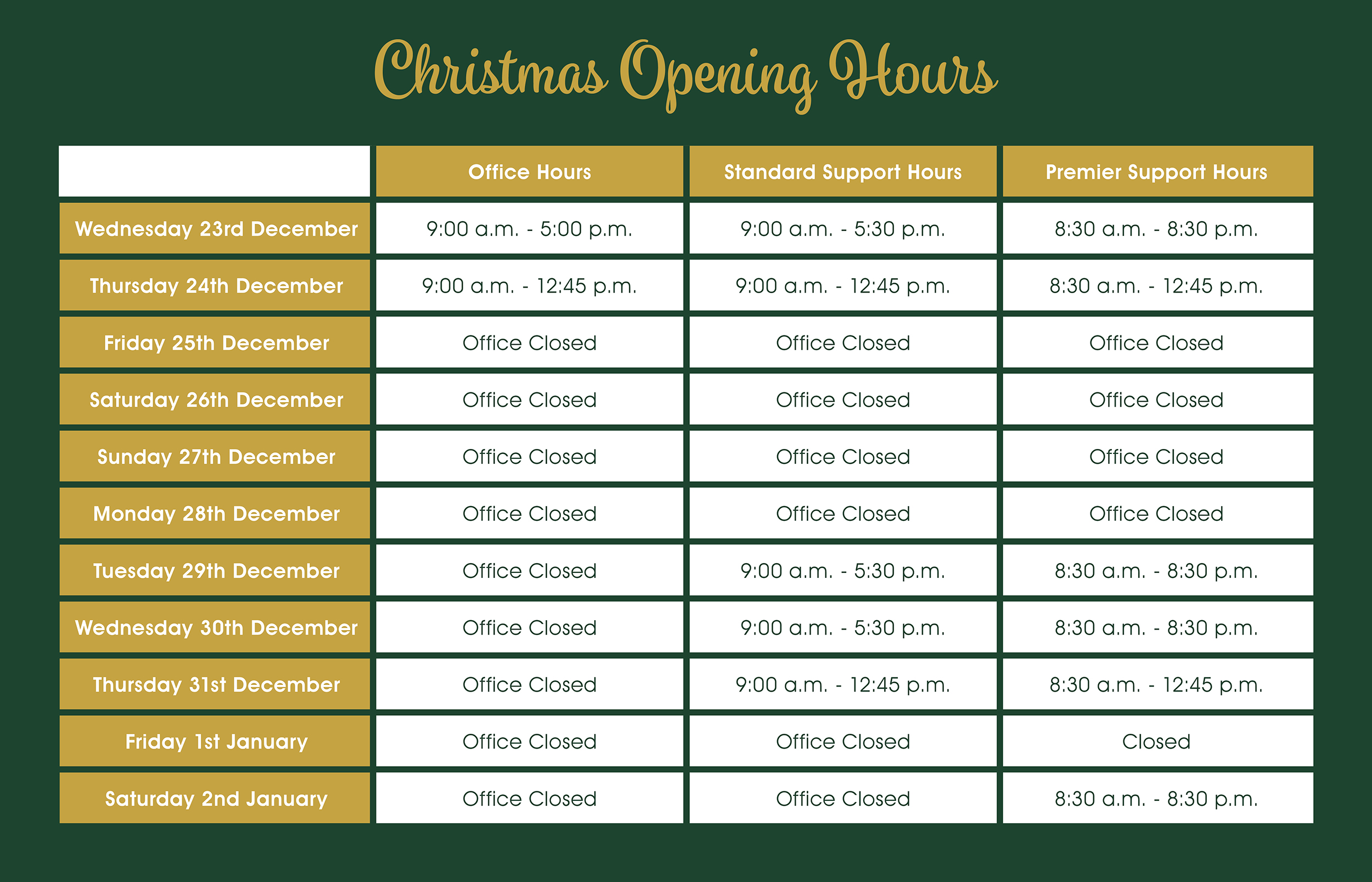 Christmas Opening Hours at Premier Software